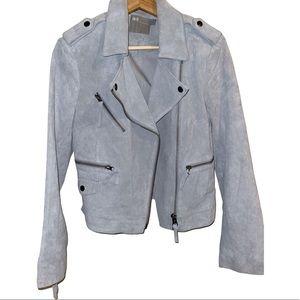 ASOS Suede Moto Jacket Light Blue